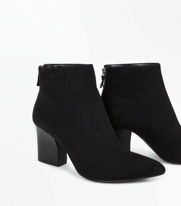 Black Suedette Cuban Heel Boots New Look