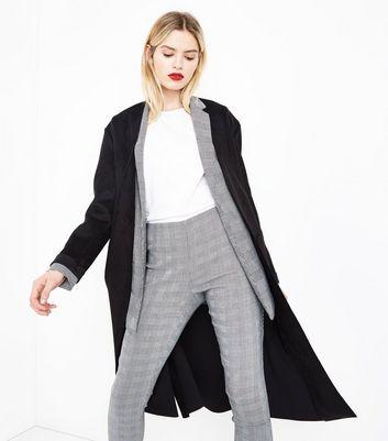 Black Suedette Duster Coat New Look