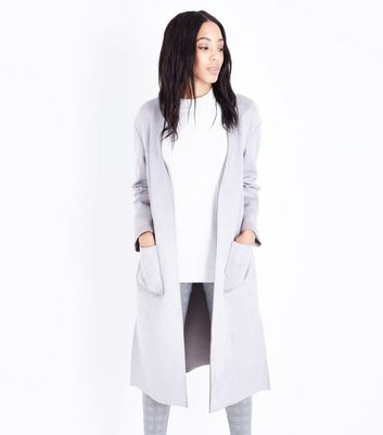 Grey Suedette Duster Jacket New Look