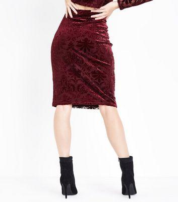 Burgundy Burnout Velvet Pencil Skirt New Look
