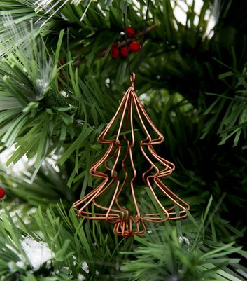 Rose Gold Wire Christmas Tree Decoration New Look