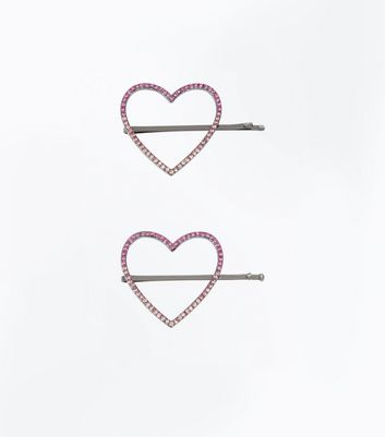 Pink Ombre Embellished Heart Hair Grips New Look