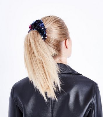 Blue Ombre Sequin Scrunchie New Look