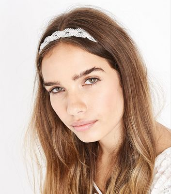 Silver Diamante VIntage Twist Headband New Look