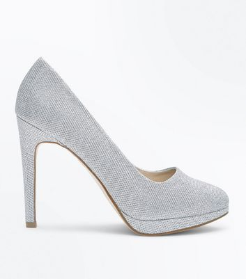 Silver Glitter Platform Court Shoes New Look