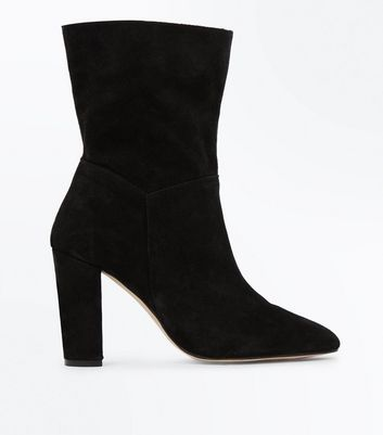 Black Premium Suede Slouchy Calf Boots New Look