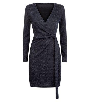 Blue Vanilla Black Glitter Chevron Wrap Dress New Look