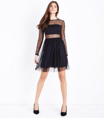 Blue Vanilla Black Spot Mesh Mini Dress New Look