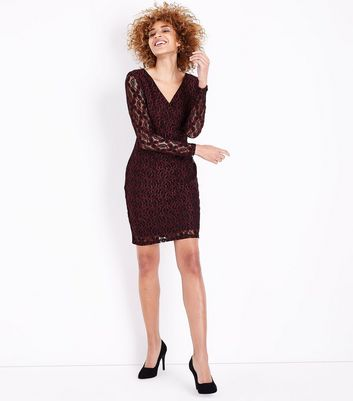 Mela Burgundy Floral Lace Bodycon Dress New Look