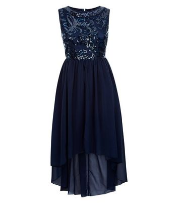 Mela Navy Embellished Dip Hem Dress New Look