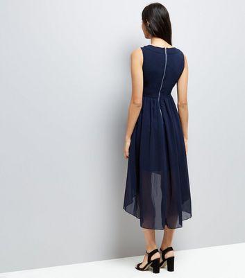 mela-navy-embellished-dip-hem-dress