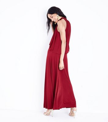 Mela Burgundy Frill Bodice Maxi Dress New Look