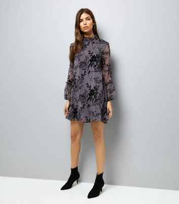 Mela Black Floral Print Mesh Overlay Shift Dress New Look