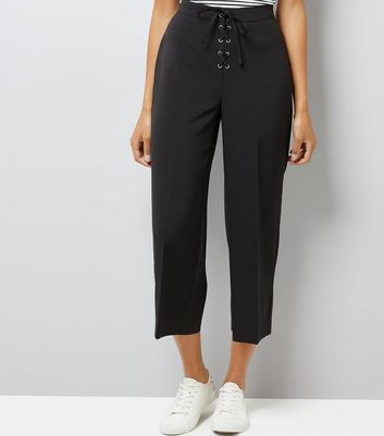 Black Lace Up Front Cropped Trousers New Look