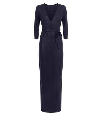 Mela Black Shimmer Wrap Maxi Dress New Look