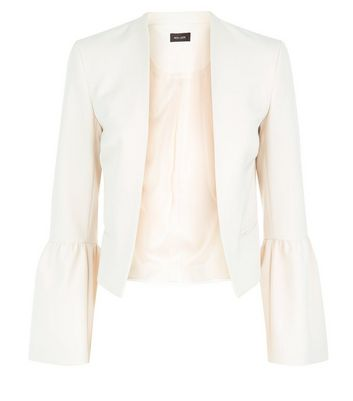 Stone Ruffle Sleeve Cropped Blazer New Look