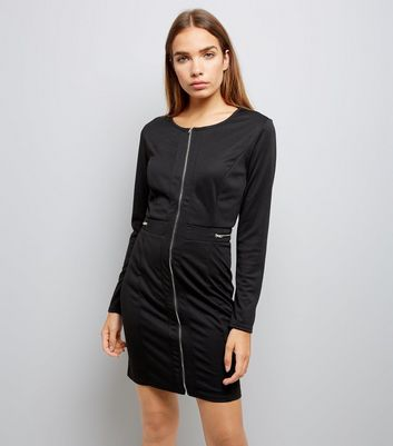 Mela Black Zip Detail Bodycon Dress New Look