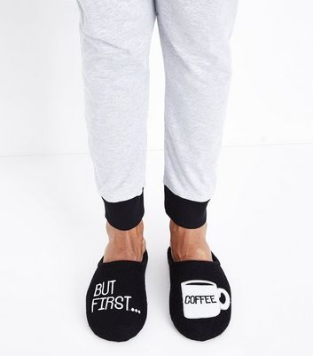 Black First Coffee Slogan Slippers New Look