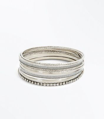 Silver Diamante Embellished Bangle Pack New Look