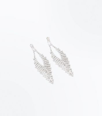Silver Embellished Cupchain Chandelier Earrings New Look
