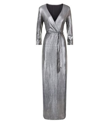 Mela Silver Metallic Wrap Maxi Dress New Look