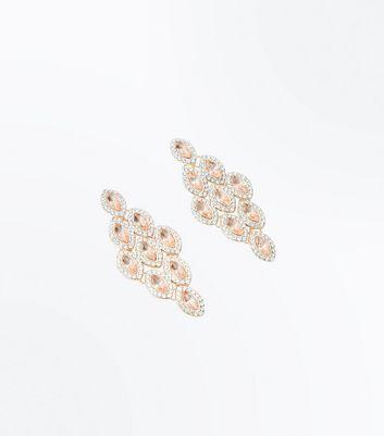 Rose Gold Gem Embellished Chandelier Earrings New Look