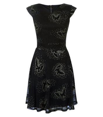 Mela Black Glitter Butterfly Print Mini Dress New Look