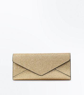 Gold Glitter Envelope Purse New Look
