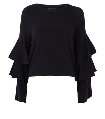 Black Tiered Sleeve Ribbed Jumper New Look