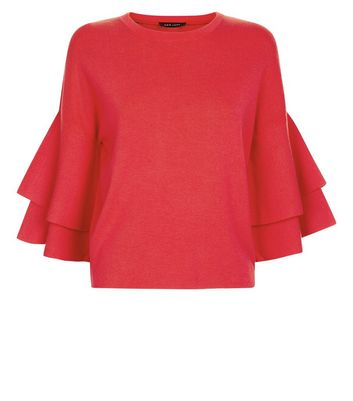 Red Tiered Sleeve Jumper New Look