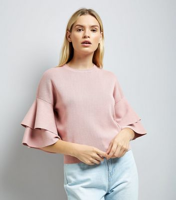 Pink Tiered Sleeve Jumper New Look