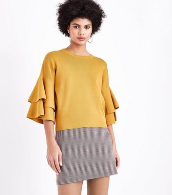 Yellow Tiered Sleeve Jumper New Look
