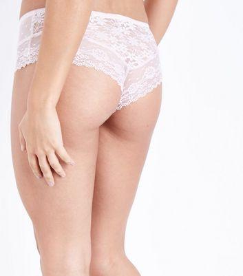 Nude Lace Mesh Brazilian Briefs New Look
