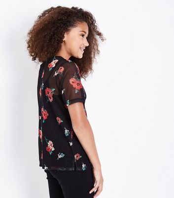 Teens Black Floral Print Mesh T-Shirt New Look
