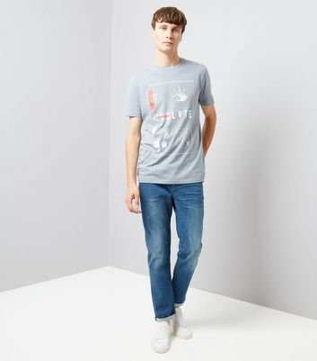 Pale Blue Isolate Distressed Print T-Shirt New Look