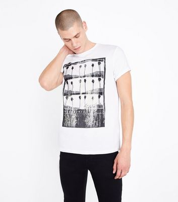 White Palm Tree Print T-Shirt New Look