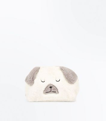 Cream Faux Fur Bear Make Up Bag New Look