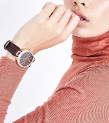 Brown Stone Embellished Dial Watch New Look