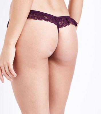 Dark Purple Lace Frill Thong New Look