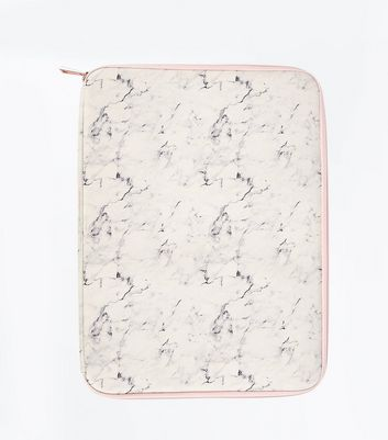 White Marple Print Laptop Case New Look