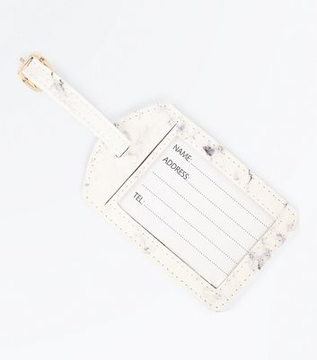 White Marble Pattern Luggage Tag New Look