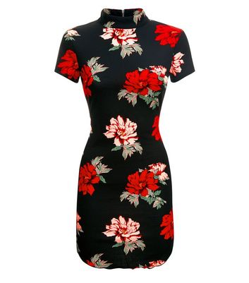 AX Paris Black Floral Print Bodycon Dress New Look