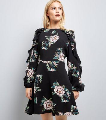 AX Paris Black Floral Print Frill Sleeve Dress New Look