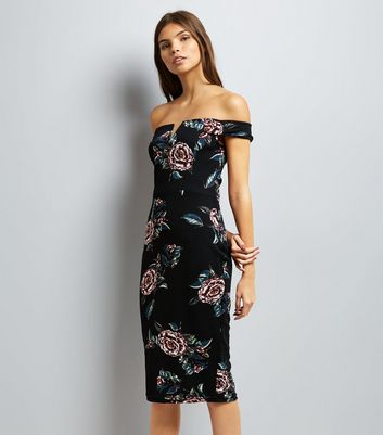 AX Paris Black Floral Print Bardot Dress New Look