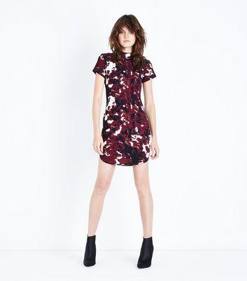 AX Paris Burgundy Abstract Print Bodycon Dress New Look