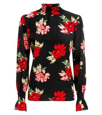 AX Paris Black Floral Long Sleeve Top New Look