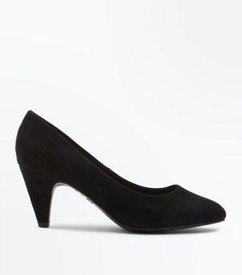 Black Comfort Flex Suedette Cone Heel Courts New Look