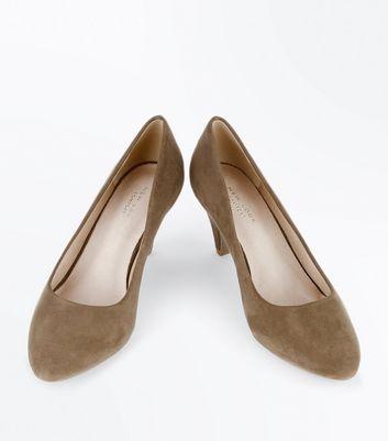 Khaki Comfort Flex Suedette Cone Heel Courts New Look