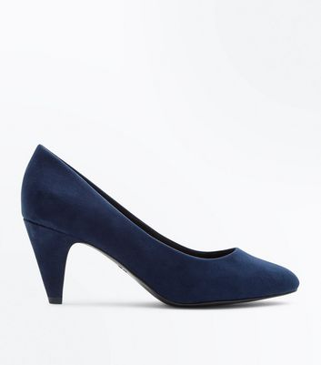 Navy Comfort Flex Suedette Cone Heel Courts New Look