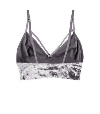 Grey Velvet Strap Front Bralet New Look
